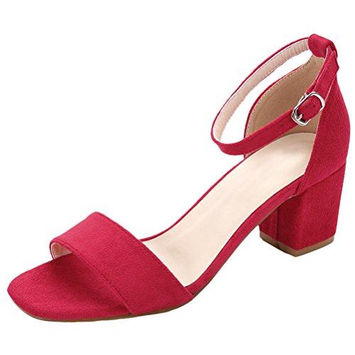 Vogstyle Nuovo Donna Sandali Punta Aperta Alla Caviglia Scarpe Con Cinturino Stile 1-Rosa