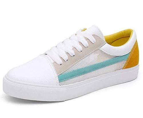 Ladies Womens Girls Flat LACE UP Plimsolls Pumps Canvas Trainers Hollow Shoes White Green UK4=US6=AU5=EUR 37 Ellie Shoes High Heel Pumps