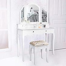 Perfekt CCLIFE Schminktisch Mit Hocker Frisierkommode Schwenkbar Spiegel  Frisiertisch Kosmetiktisch Schminkkommode Schlafzimmerkommode Weiß/Schwarz,  Farbe