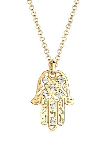 Elli Halskette Damen Halskette mit Hamsa Hand Anhänger in 925 Sterling Silber Swarovski Kristalle 45 cm lang