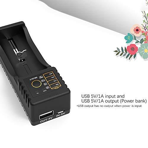 H&T Ladegerät, Universal USB-Ladegerät 4-Fach für AA/AAA/Li-Ionen / 18650/18500/18350/17670/17500/16340/14500/10440 / 3,7V Lithium-Batterien,4Slots (Aaa-batterien Lithium-ionen)
