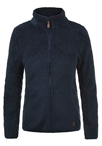 DESIRES Telsa Damen Fleecejacke Teddyfleece Zip-Jacke Sweatjacke Mit Stehkragen Und Taschen, Größe:XXL, Farbe:Insignia Blue (1991)