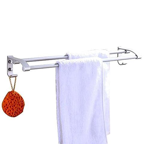 Barre de serviette Rack en aluminium Double barre porte-serviettes Rack étagère murale Cintre support organiseur pour salle de bain et de cuisine de style contemporain