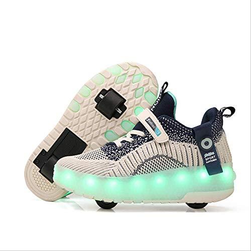 STBB Rollschuhe Bunte Kinder Kinder Mode Sneakers Mit Zwei Rollen Roller Skate Schuhe Jungen Mädchen Schuhe 4 Blau