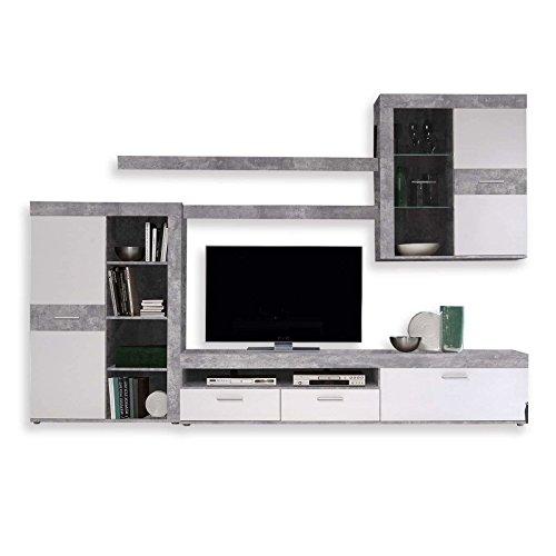 NEWFACE Zumba Wohnwand, Holz, betonoptik / weiß, 300 x 41 x 200.90 cm