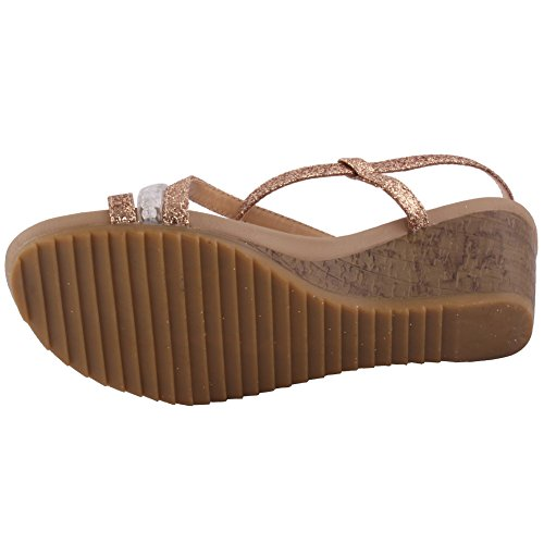 Unze New Women 'Mongolian' Open Toe Wedge Sandales Summer Beach Travel School School Carnival Chaussures Casual Taille UK 3-8 Or