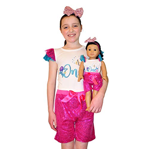ZITA ELEMENT 2 Sets Passende Mädchen & Puppenkleider Outfits - 2 Shorts 2 Hemden mit Einem 2 Haarbänder für Kleinkinder von 7-9 Jahren und 18 Zoll Doll Geburtstagsgeschenk - Aquaman Theme - Shorts Set Girl Puppe American