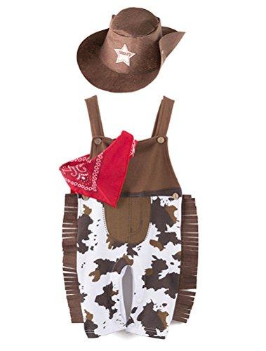 ARAUS Unisex Kinder Kleidung Outfits Ärmloser Strampler+Halstücher+Hut Cowboy Kostüm für Kinder 3-24 Monate (Braun, 6-12 Monate)