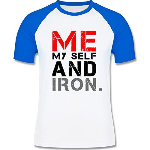 CrossFit & Workout - ME MY SELF AND IRON - zweifarbiges Baseballshirt für Männer Weiß/Royalblau