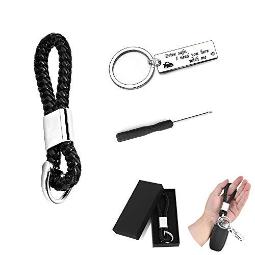 YIKEF Auto Schlüsselanhänger mit Fahr Vorsichtig Schlüsselanhänger, Leder Schlüsselbund, Personalisierte Edelstahl Drive Safe Keychain, Geschenk für Vater Ehemann Freund - Schlüsselanhänger Personalisierte