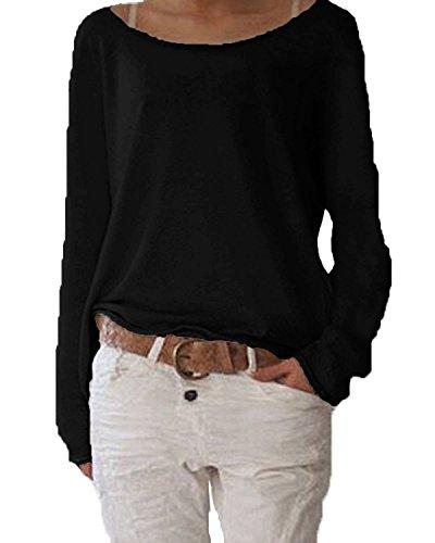 Minetom Donne Moda Camicia A Maniche Lunghe O-Collo Camicetta Casuale Cime Di Colore Solido Nero 40