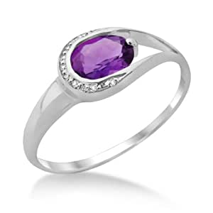 Amethyst Ring, 9ct White Gold, Diamond Setting, Size L, by Miore, MT026ARM