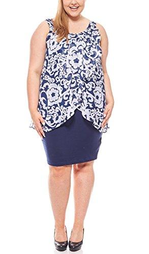 Zhenzi Sommerliches Jerseykleid Knielang Layer-Look Sommerkleid Cocktailkleid Große Größen Blau,...