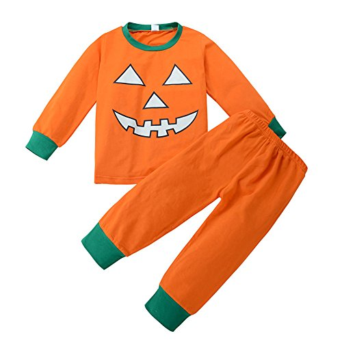 ODJOY-FAN Kleinkind Baby Jungen Mädchen Halloween Kürbis Teufel Tshirt Oberteile + Hose, Halloween Kürbis Klein Dämon Outfits Einstellen Langarm Patchwork Tops Overall(Orange ,140)