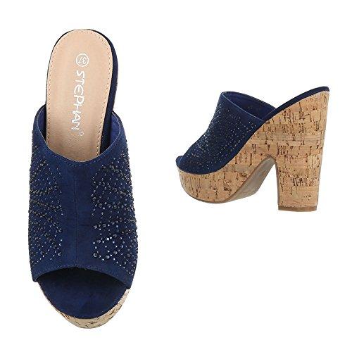 Pantoletten Damen Schuhe Jazz & Modern Pump Strass Besetzte Ital-Design Sandalen / Sandaletten Blau