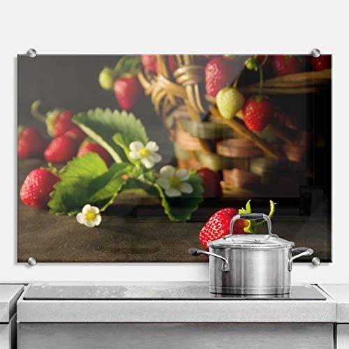 Spritzschutz Erdbeerkörbchen Küche Küchenrückwand Erdbeeren süß rot Blätter fruchtig Korb Wall-Art - 60x40 cm