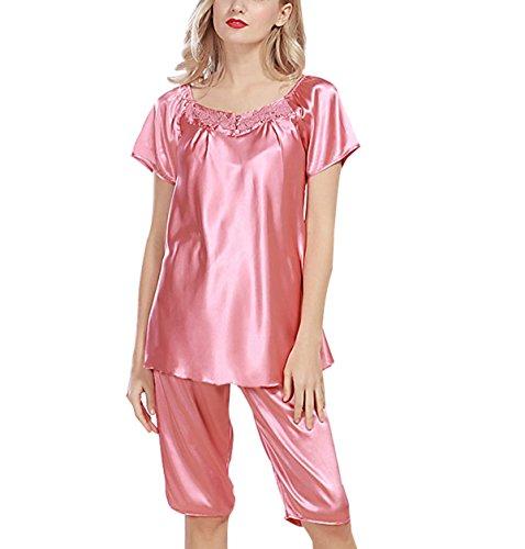Mme étéà Manches Courtes Pyjama De Soie Sexy Costume pink