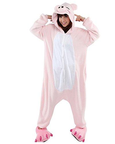 Honeystore Unisex Schwein Flannel Siamesische Kleidung Party Pyjamas Tier Jumpsuit Kostüm Pyjamas (Kostüme Schwein Für Teenager)