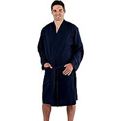 Harvey James Peignoir léger en pur coton pour homme XL Bleu marine