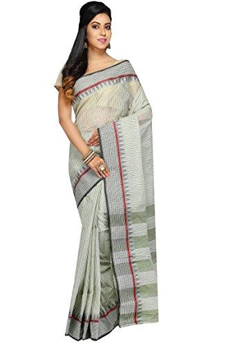 Badal Textile Handloom Cotton Tant Saree, Traditional Bengali Wear (White & Black)
