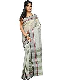 Madhushree Handloom Cotton Tant Saree, Traditional Bengali Wear (White & Black)