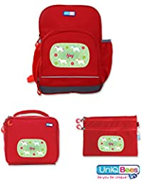 UniQBees Combo Pack - Personalised School Bag, Lunch Bag & Pouch (Class 1 & 2-Unicorn)