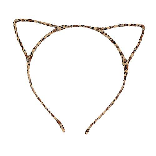 Frcolor Katze Ohr Stirnband für Frauen Mädchen Metall Haarband Kätzchen Ohren Haarband Kostüm Party Cosplay 1 STÜCKE (Leopard) (Ein Stück Leopard)