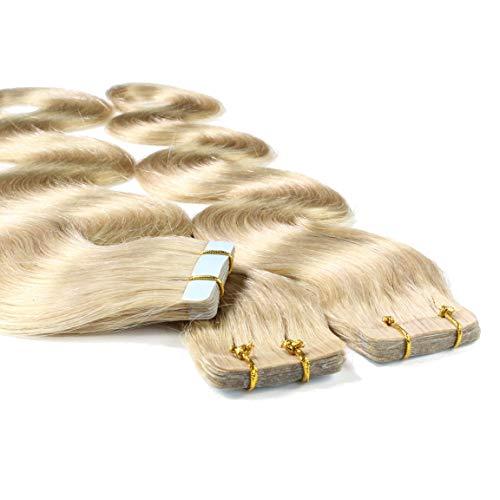 hair2heart 10 x 2.5g Tape In Echthaar Extensions, 40cm - gewellt - #20 aschblond