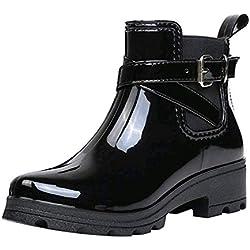 Luckycat Botas de Agua Mujer Lluvia Altas Zapato Impermeables Ajustable Cremallera y Hebilla Goma Botas de Agua Antideslizantes en PU