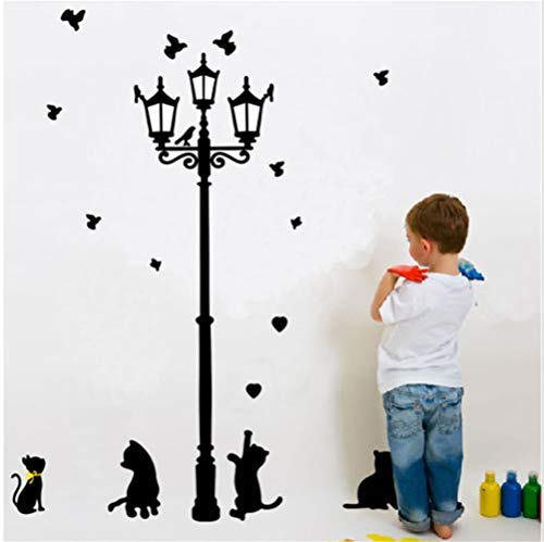Decorative Painting Wall Sticker Street Lamp Under The Cat Children'S Room Kindergarten Wall Sticker Can Be Removed 50 * 70Cm