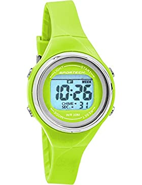 Sportech Damen-| Lime Grün Dünn Band Wasser beständig Schwimmen Sport Armbanduhr | sp10711