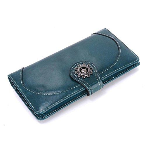 Portafoglio donna/Cera testa di retrò lungo bi-fold portafogli/Portafoglio di carta-A A