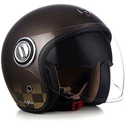 Soxon SP de 888Mono–Casco de moto jet, casco Roller Vespa, Scooter, Pilot, Cafe Racer, incluye visera de sol y visera larga, Allrounder