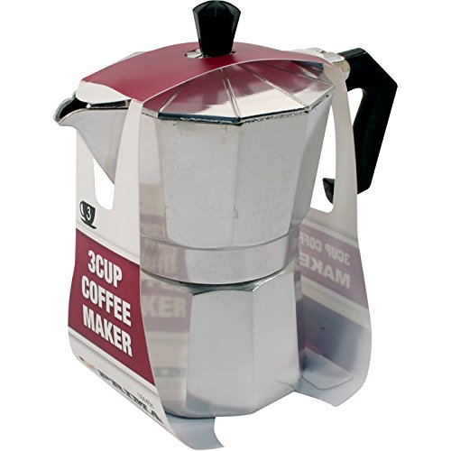 3 CUP COFFEE MAKER STOVE POT ESPRESSO KITCHEN ALUMINIUM CAFETIERE PERCOLATOR NEW 41r60tcrTxL