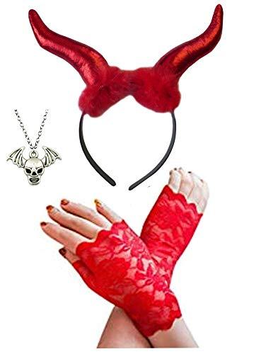 Rot Teufel Hörner + Demon Gefallener Engel Halsband + Fingerlose Handschuhe Satz