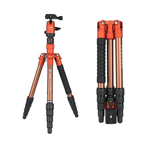 Fotopro X-go Gecko-OR Professional Kamera Aluminium-Stativ, kompaktes und tragbares Dreibeinstativ für Kamera und DSLR Nikon, Sony, Canon, Pentax, mit Tragetasche, 53 Zoll, Orange (Stativ Canon Professional)