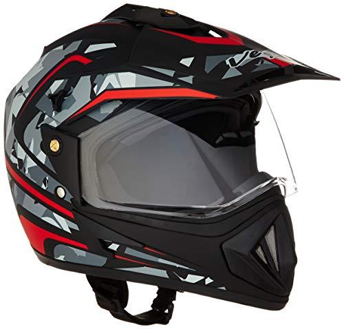 Vega Off Road D/V Camo Full Face Helmet (Black and Red, L)