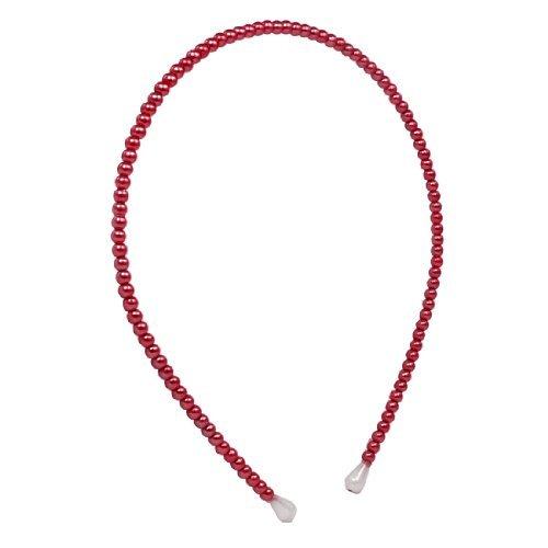 Dealmux Plastique Perle Décoration Filles Femme Cheveux Band Hoop Headwear, Rouge, 0 kilogram