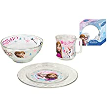 Frozen - Juego desayuno de cristal, 3 piezas (Arditex WD8541)