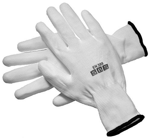 12 paires de gants nylon, taille au choix 7 à 11, noir, blanc, gris, Construction Gants Gants de travail Montage Gants