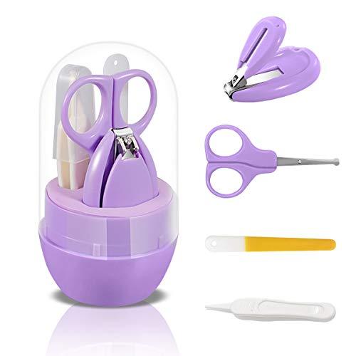 SONARIN Transparenter Deckel Baby Nagel Kit, 4-in-1 Baby Pflege set, mit Baby Nagelknipser,Schere,Nagelfeile und Pinzette, Baby Nagelpflege Set für Neugeborene oder Kleinkinder(Lila)
