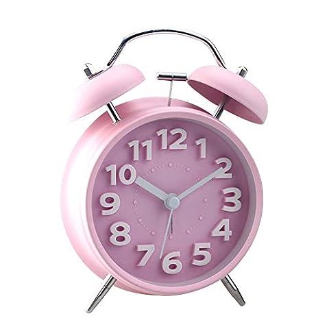 Jinberry Retro Wecker / glockenwecker / Vintage Tischuhr mit licht Nachtlicht, 4 Zoll Lautlos Analog Quarz ohne Ticken Schleichende Sekunde Alarm Clock -
