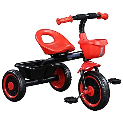 Jiamuxiangsi Baby Bicycle Toy Car Children's Tricycle 1-2-3-5 Year Old Baby Bicycle Child Infant Stroller Baby Carriage Birthday Gift Black Yellow Bicycle Baby (Color : Red)
