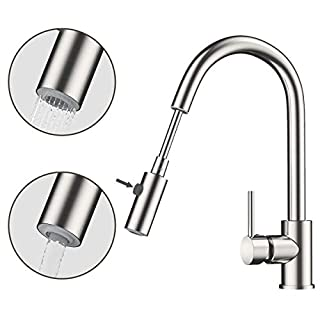 Rackaphile Single-Handle Kitchen Mixer Sink Tap with Pull Out Spray 360 Degree Swivel Kitchen Faucet Sprayer, Hot and Cold Water Spout Lead-Free Sink Faucet with UK Standard Fittings, Stainless Steel