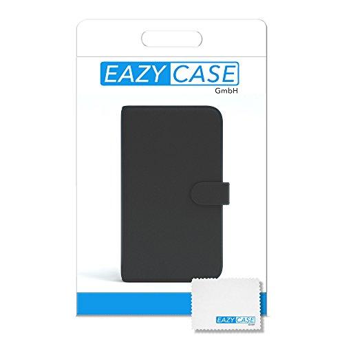 Samsung Galaxy Xcover 3 Hülle - EAZY CASE Premium Flip Case Handyhülle - Schutzhülle aus Leder zum Aufklappen in Gelb Schwarz - Bookstyle