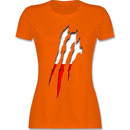 Länder - Polen Krallenspuren - tailliertes Premium T-Shirt mit Rundhalsausschnitt für Damen Orange