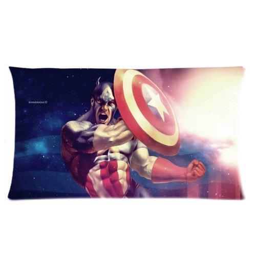 Trendsetter Capitán América Custom Rectángulo con cremallera funda de almohada cojín Carcasas 20x 36dos lados
