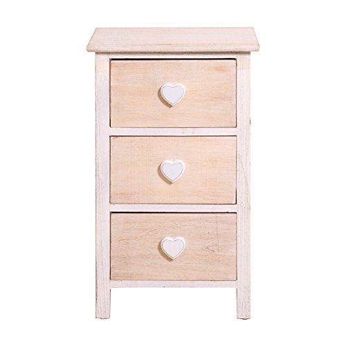 Rebecca srl comodino cassettiera 3 cassetti romantica legno bianco crema shabby arte povera camera ingresso bagno (cod. re4363)