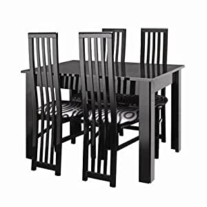 Manhattan Table with 6 Dining Chairs in Black Gloss