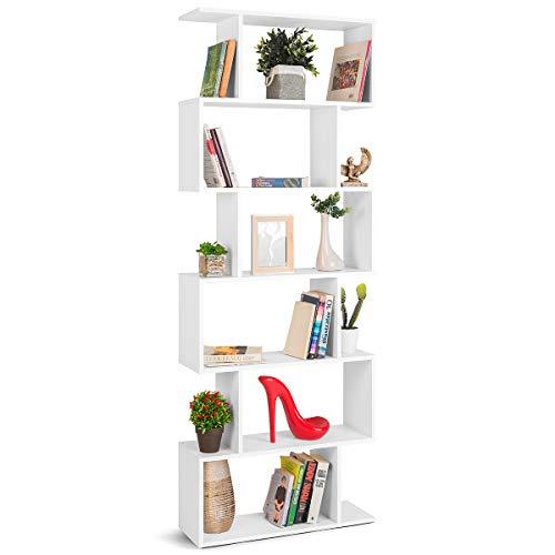 COMIFORT Estantería de Pared - Librería de Estilo Nórdico, Moderna y Minimalista, con 7 Baldas de Gran Capacidad, Robusta y Resistente, de Color Blanco